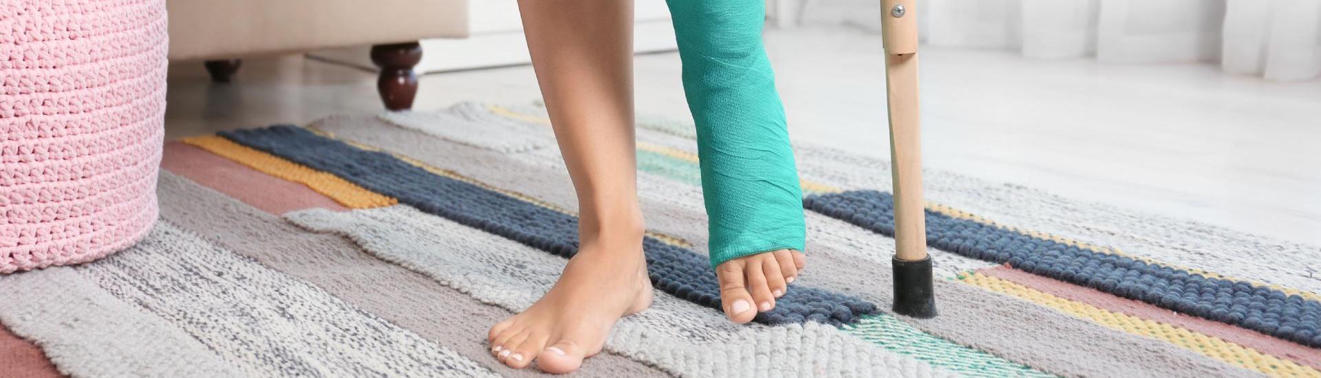jambe dans le platre