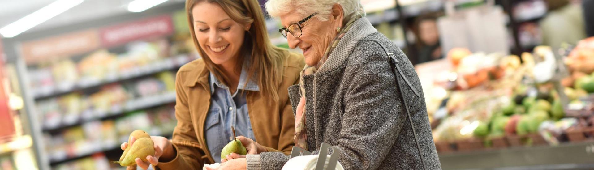 aide aux courses, seniors et aide a domicile